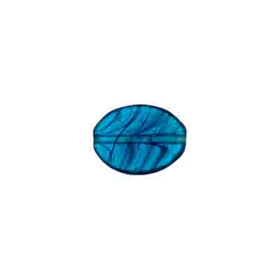 GLASS PRESSED BEADS 12x9mm FLAT OVAL PETROLEUM BLUE image