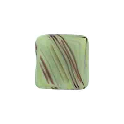 GLASS PRESSED BEADS FLAT SQ. 16MM GREEN MARBLE image