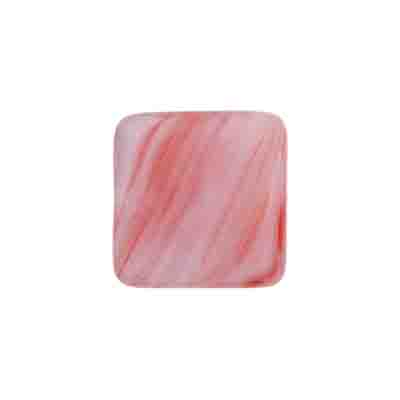 GLASS PRESSED BEADS FLAT SQ. 16MM LITE PINK/RED STRIPE image