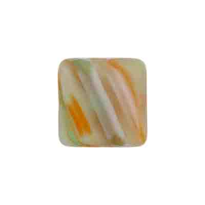 GLASS PRESSED BEADS FLAT SQ. 16MM GREY/ORANGE STRIPE image