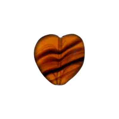 GLASS PRESSED BEADS HEART 16MM BROWN MARBLE MATT image
