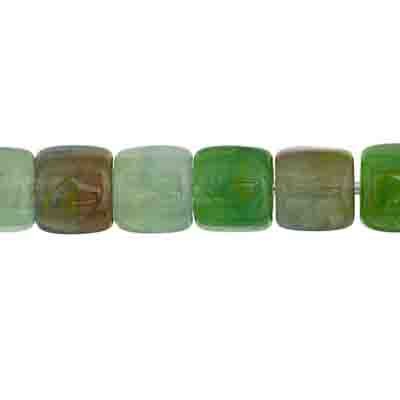GLASS PRESSED BEADS 6mm TUBE MINT GREEN image