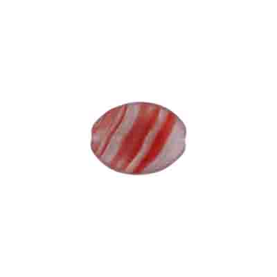 GLASS PRESSED BEADS 12x9mm FLAT OVAL DARK GREY/RED STRIPE image