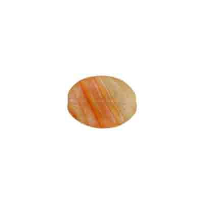 GLASS PRESSED BEADS 12x9mm FLAT OVAL YELLOW/ORANGE STRIPE image