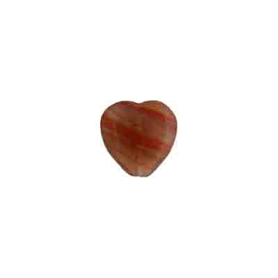 GLASS PRESSED BEADS 10x10mm HEARTS LIGHT RED/BROWN STRIPE image