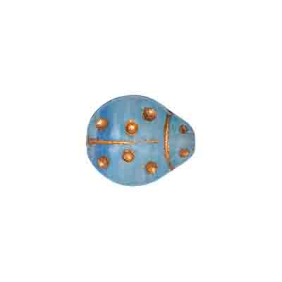GLASS PRESSED BEADS COATED 14x12mm LADYBUG LT.BLUE/GOLD image
