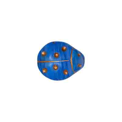 GLASS PRESSED BEADS COATED 14x12LADYBUG TWO TONE BLUE/GOL image