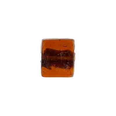 GLASS BEADS 10x10mm SQUARE FLAT BROWN FOILED BEADS image