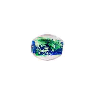 "GLASS BEADS 9x11mm OVAL CRY. BLUE/GREEN FOILED STRUNG 1X16"" image"