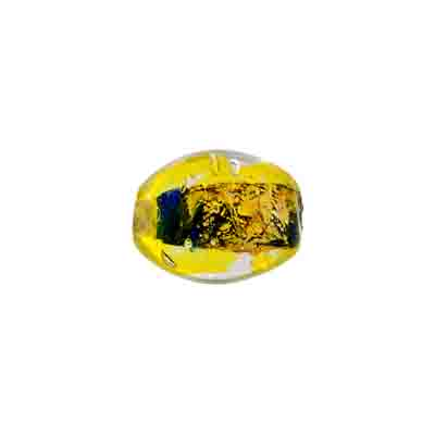 "GLASS BEADS 9x11mm OVAL CRY. BLUE/YELLOW FOILED STRG 1X16"" image"