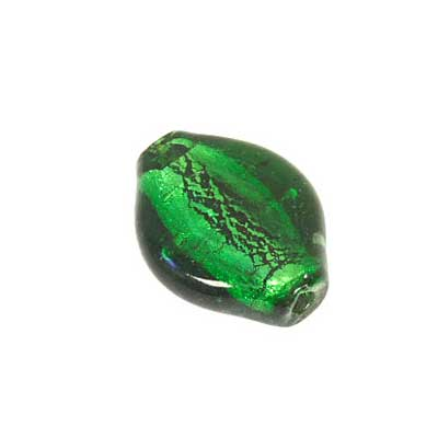 GLASS FURNACE SILVER FOIL 28x27mm FLAT OVAL GREEN image