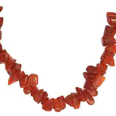 GLASS FANCY CHIPS 16in STRAND TRANSLUCENT RED image