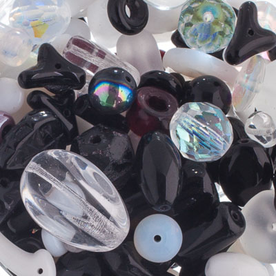 Czech Glass Beads Mixes apx100g Alps Black/White image