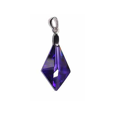 CUBIC Z. PENDANT W/SS.925 BAIL 13x22mm DIAMOND PURPLE image