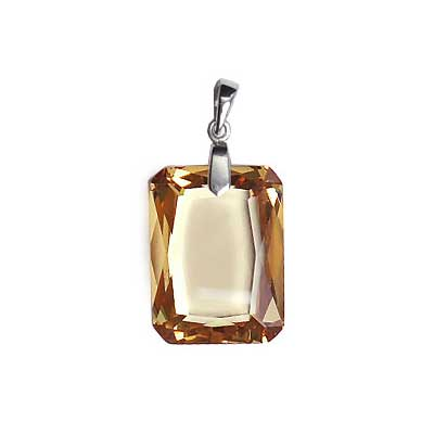 CUBIC Z. PENDANT W/SS.925 BAIL 15x20mm RECT. LT CHAMPAGN image