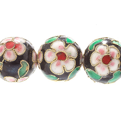 CLOISONNE BEADS 16MM ROUND BLACK STRUNG image