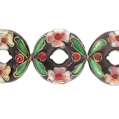 CLOISONNE BEADS 20MM DONUT BLACK STRUNG image