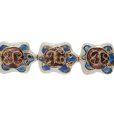 CLOISONNE BEADS 18MM TURTLE WHITE STRUNG image