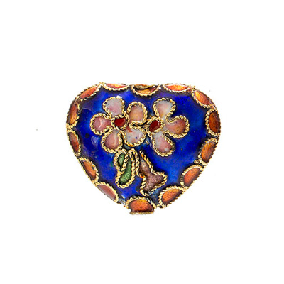 CLOISONNE BEADS 20x22MM HEART ROYAL image