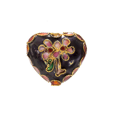 CLOISONNE BEADS 20x22MM HEART BLACK image