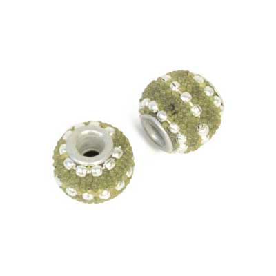 LADHAKI BEADS W/ SILVERLINE 12mm ROUND MOSS GREEN image