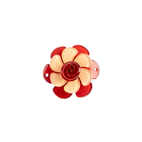 Trop Punch 3D Flower Link 53mm Gardenia Salmon/Red 1pc image