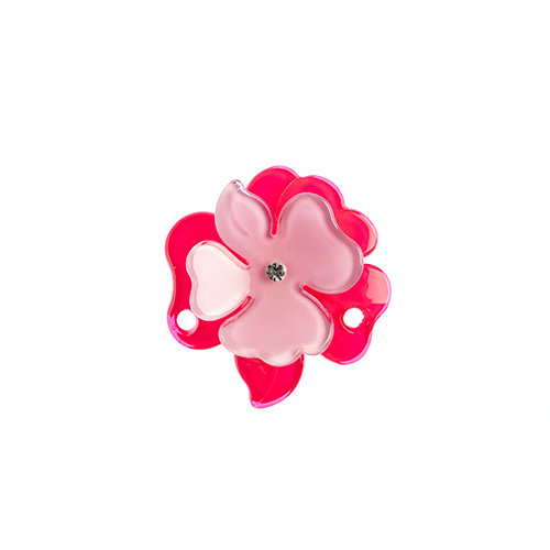 Trop Punch 3D Flower Link 63mm Magnolia Hot 1pc Pink/Lilac image