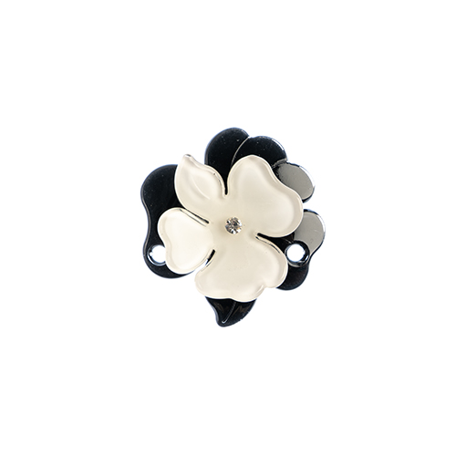 Trop Punch 3D Flower Link 63mm Magnolia 1pc Black/White image