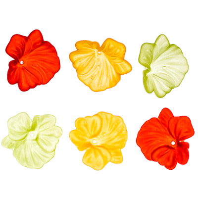 Lucite Hibiscus Bead Cap Frosted Multi 30x33mm image