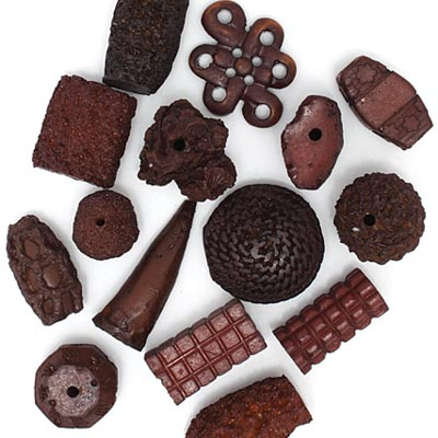 RESIN BEADS IRREGULAR CHUNKY SHAPES BROWN image