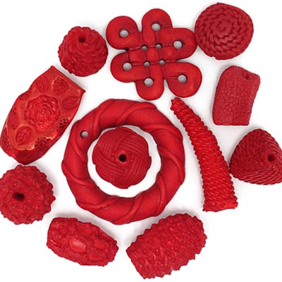 RESIN BEADS IRREGULAR CHUNKY SHAPES RED image