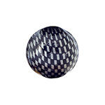 Checker Beads Round 18mm Silver/Black approx 9pcs/strnd image