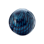Checker Beads Round 22mm Aqua/Black aprox 7pcs/strand image