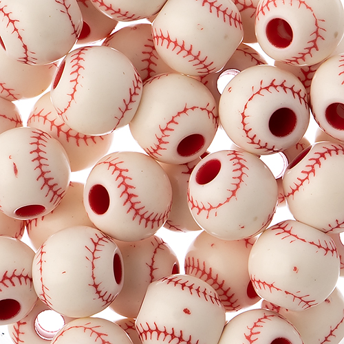 Acrylic Sports Bead Baseball 11x12mm image