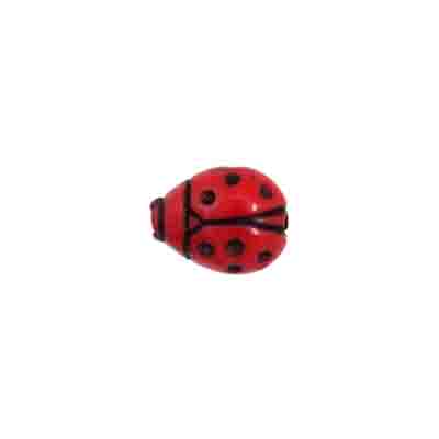 Acrylic Ladybug Bead 12x9mm Red/Black image