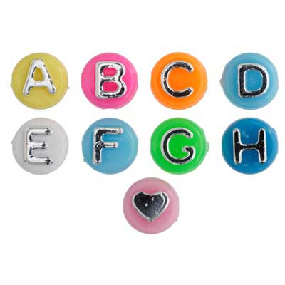ACRYLIC ALPHA BEAD 8mm BRIGHT MULTI BEADS/SILVER LETTERS image