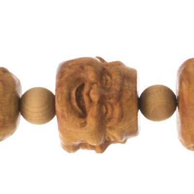 Bead-Carved Buddha Head 3Faces 18x19mm Natural 8in image