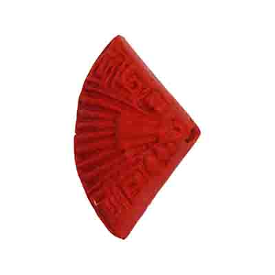 IMT.CINNABAR 15.5X25MM FAN FANCY BEAD RED - STRUNG image