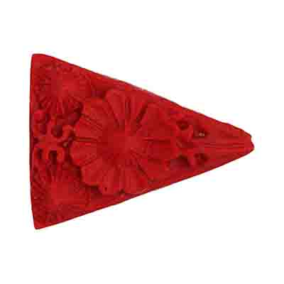IMT.CINNABAR 21X28MM TRIANGLE FANCY PENDANT RED -STRUNG image