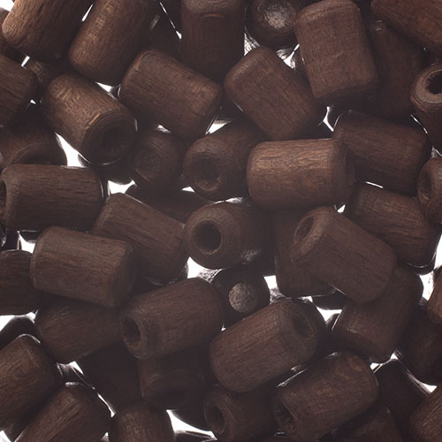 Wooden Beads Cylinder 6x9mm Dark Brown image
