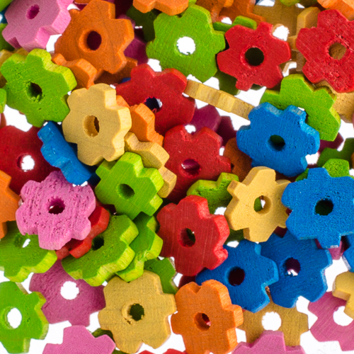 Wooden Beads Flower 9x2mm Multi image