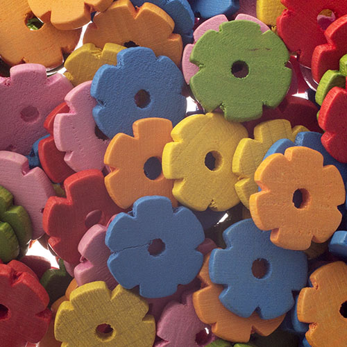 Wooden Beads Flower 12x2mm Multi image