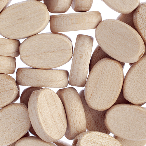 Wooden Beads Flat Oval 10x15mm Natural image