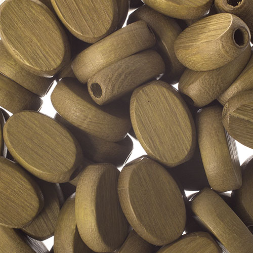 Wooden Beads Flat Oval 10x15mm Khaki image