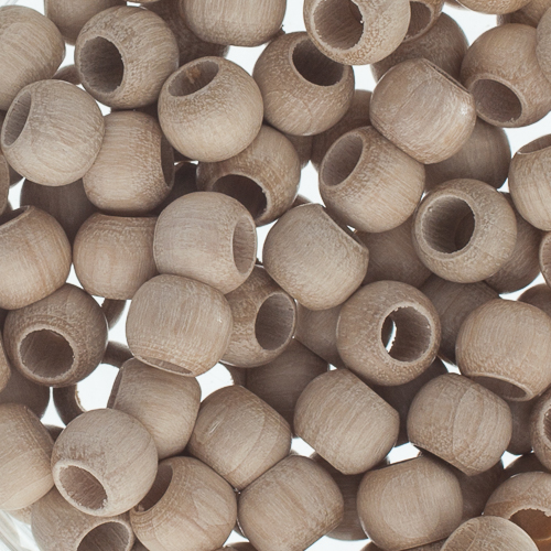 Wood Beads - Round Large Hole 8x6.5mm Natural image