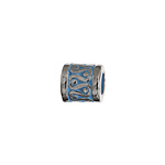 METAL BEAD FANCY CYLIND. 2TONE SILVER/TURQ. 8X8MM image