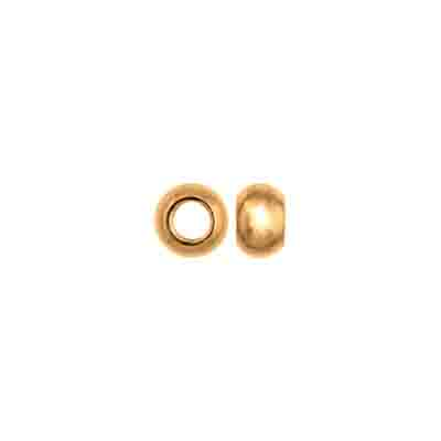 METAL BEAD ROUND SOLID 6x4mm LARGE HOLE PLATED L/F GOLD N/F image