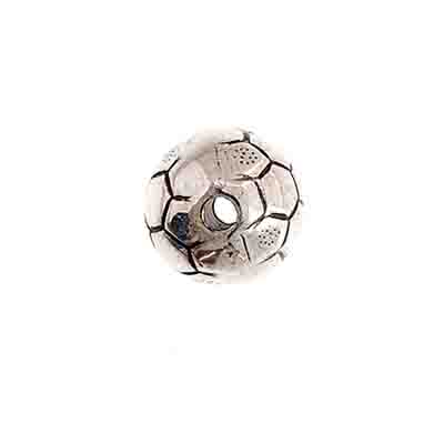 Bead - Soccer Ball Round 14mm Antique Silver 25pcs image