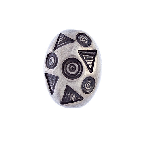 METAL BEAD OVAL W/CIRCLE & TRIANGLE 14x10MM image