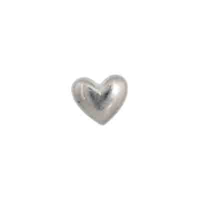 BEADS METALIZED HEART PLAIN 8X10MM SILVER image